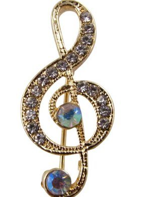 View larger image of G-Clef Brooch - Gold with Iridescent Stones