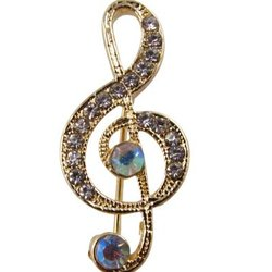 G-Clef Brooch - Gold with Iridescent Stones