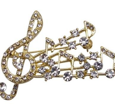 View larger image of G-Clef Burst Rhinestone Brooch - Gold