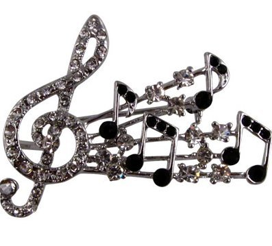 View larger image of G-Clef Burst Rhinestone Brooch - Silver/Clear/Black