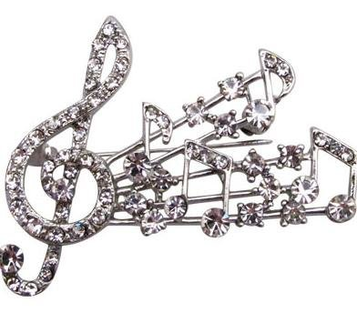 View larger image of G-Clef Burst Rhinestone Brooch - Silver
