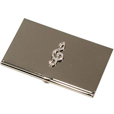View larger image of G-Clef Business Card Holder - Silver with Rhinestones