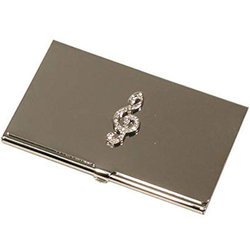 G-Clef Business Card Holder - Silver with Rhinestones