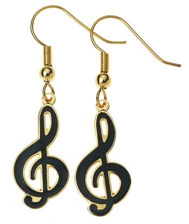 View larger image of G-Clef Earrings - Black
