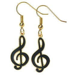 G-Clef Earrings - Black