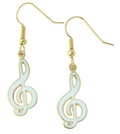 View larger image of G-Clef Earrings - White