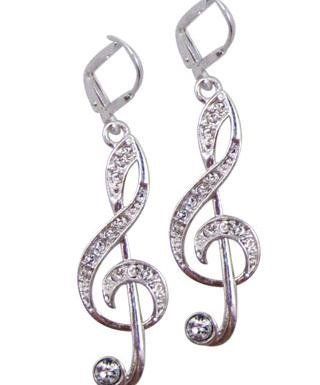 View larger image of G-Clef Earrings with Crystals - Silver