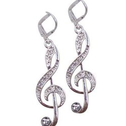 G-Clef Earrings with Crystals - Silver