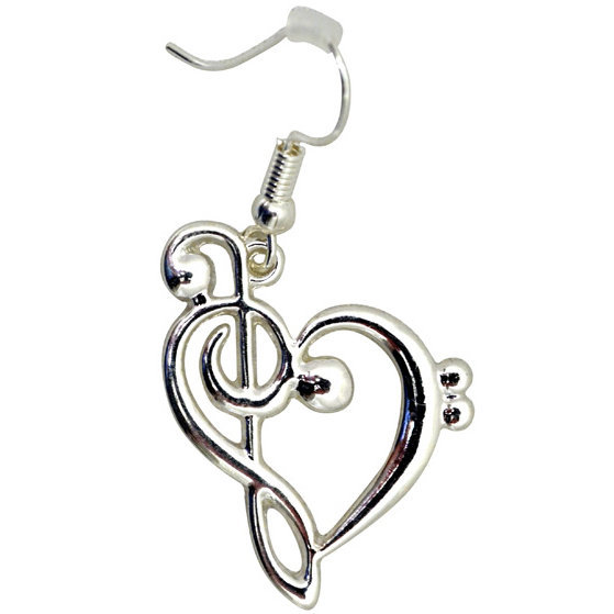 View larger image of G-Clef Heart Dangle Earrings - Silver