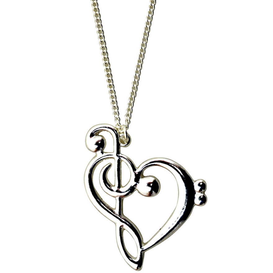View larger image of G-Clef Heart Necklace - Silver
