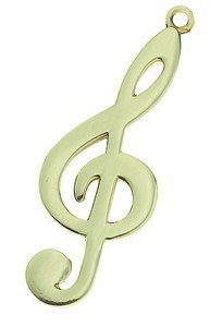 View larger image of G-Clef Keychain - Polished Brass
