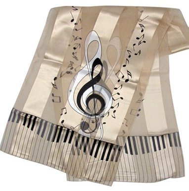 View larger image of G-Clef Music Scarf - Beige, 13x60