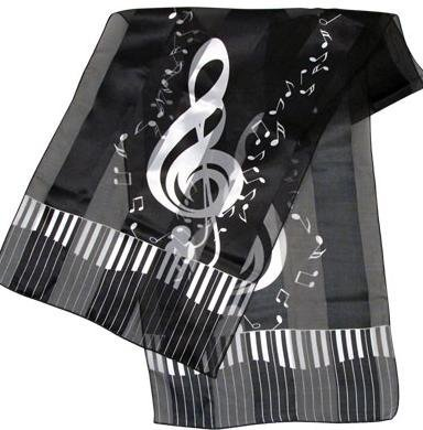 View larger image of G-Clef Music Scarf - Black, 13x60