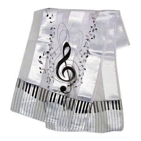 View larger image of G-Clef Music Scarf - White, 13x60