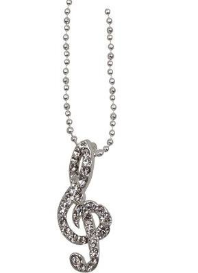 View larger image of G-Clef Necklace with Crystals - Clear/Silver