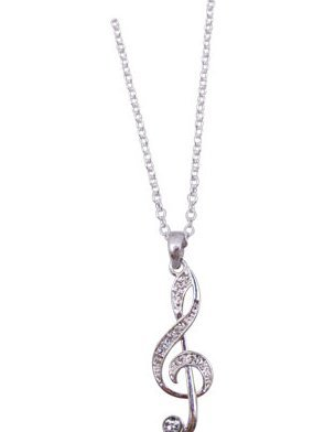 View larger image of G-Clef Necklace with Crystals - Silver