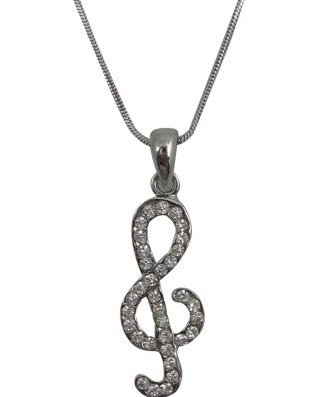 View larger image of G-Clef Necklace with Rhinestones - Medium