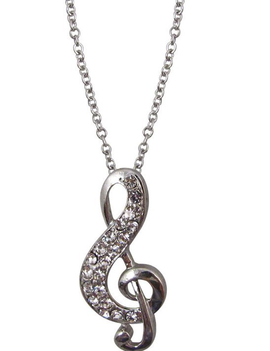 View larger image of G-Clef Necklace with Rhinestones - Silver