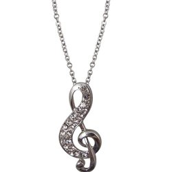 G-Clef Necklace with Rhinestones - Silver