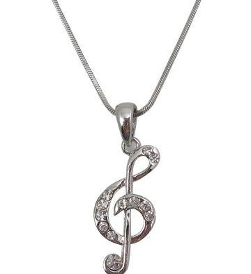 View larger image of G-Clef Necklace with Rhinestones - Small
