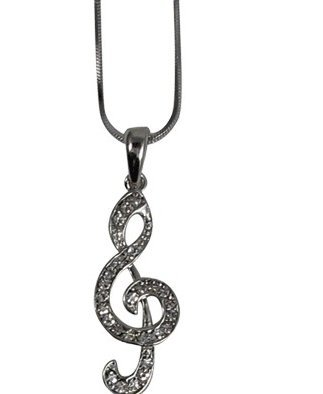 View larger image of G-Clef Necklace with Rhinestones - XL