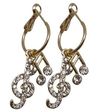 View larger image of G-Clef & Note Crystal Earrings - Clear/Gold