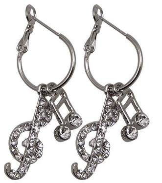 View larger image of G-Clef & Note Crystal Earrings - Clear/Silver