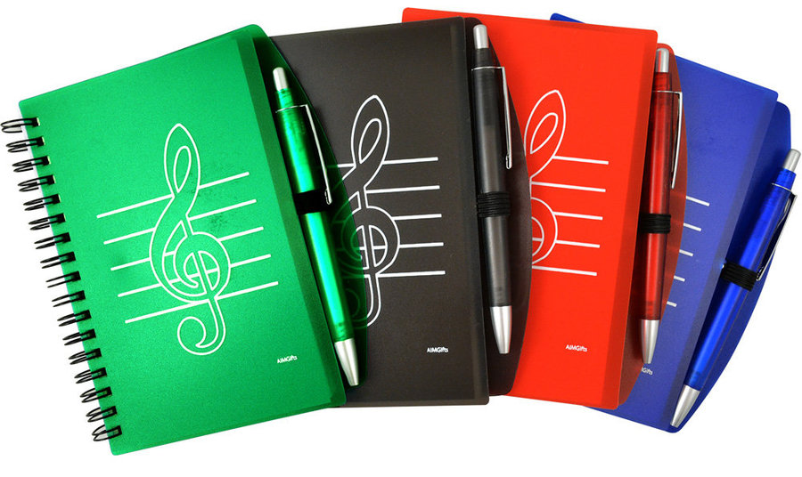 View larger image of G-Clef Notepad and Pen - Red