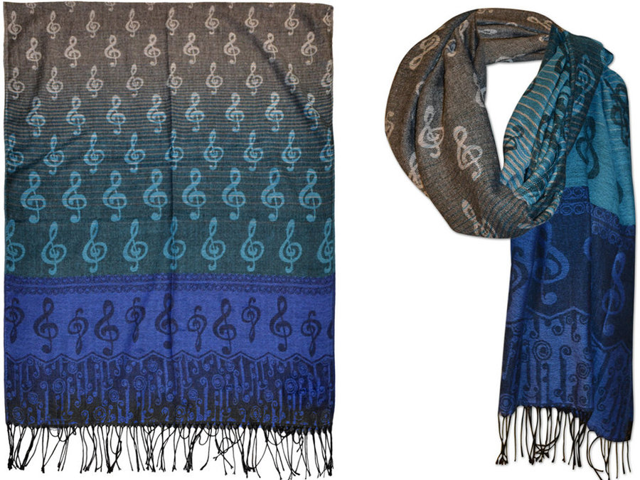 View larger image of G-Clef Pashmina Scarf - Blue