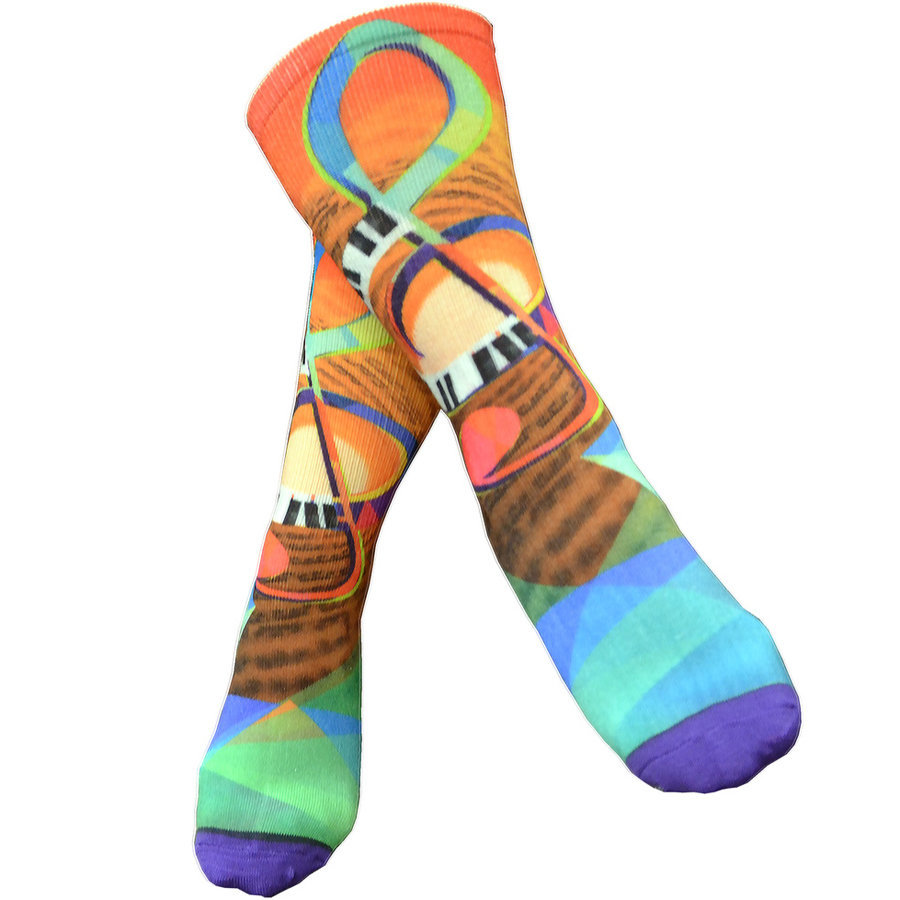 View larger image of G-Clef Piano Sublimation Socks - Size 6-12