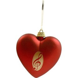 G-Clef Red Heart Ornament