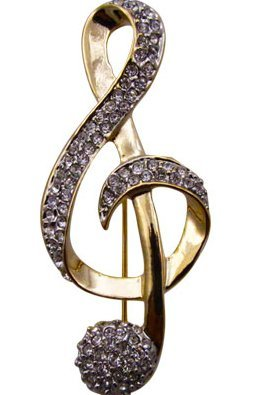 View larger image of G-Clef Rhinestone Brooch - Gold