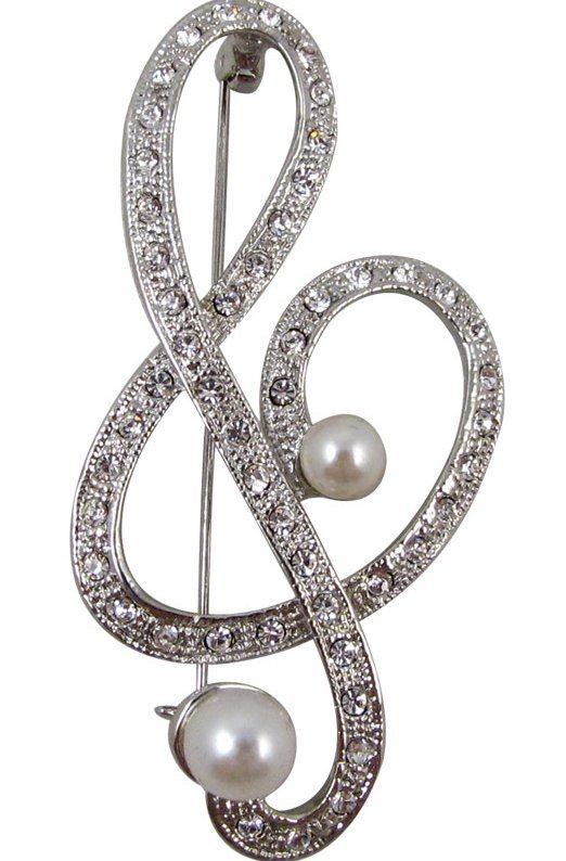 View larger image of G-Clef Rhinestone Brooch - Silver/Pearl