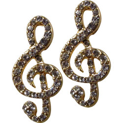 G-Clef Rhinestone Earrings - Gold