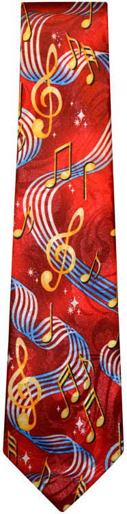 View larger image of G-Clef & Staff Tie - Red