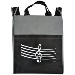 G-Clef/Staff Tote Bag with Pocket - Gray/Black