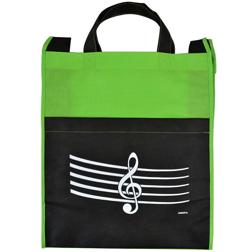 View larger image of G-Clef/Staff Tote Bag with Pocket - Green/Black