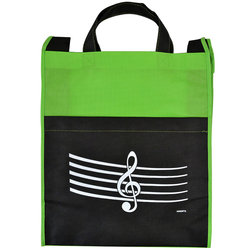 G-Clef/Staff Tote Bag with Pocket - Green/Black