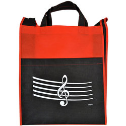 G-Clef/Staff Tote Bag with Pocket - Red/Black