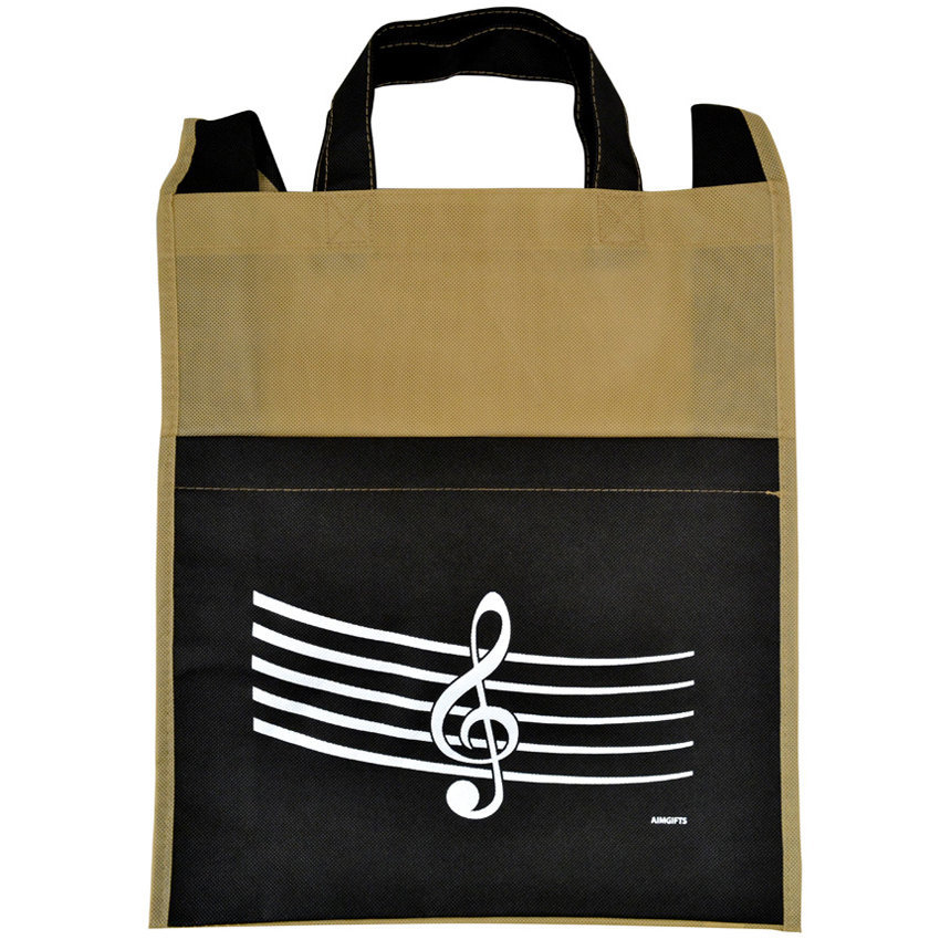 View larger image of G-Clef/Staff Tote Bag with Pocket - Tan/Black