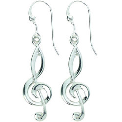 G-Clef Sterling Silver Earrings