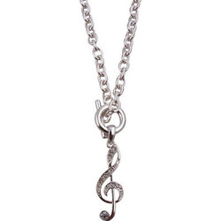 G-Clef Toggle Necklace - Silver/Rhinestones