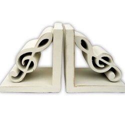 G-Clefs Bookends - Antique White
