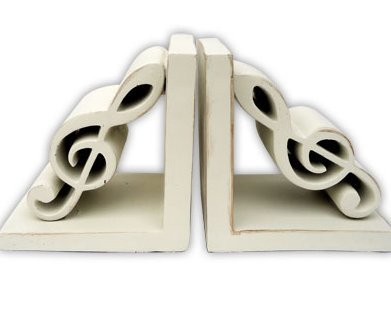 View larger image of G-Clefs Bookends - Antique White