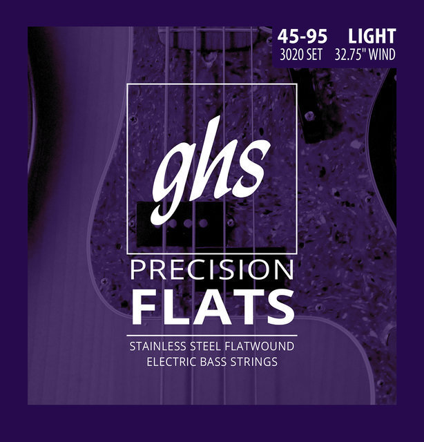 View larger image of GHS 3020 Precision Flats Flatwound Stainless Steel Bass Guitar Strings - Light 45-95, Short Scale