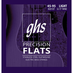 GHS 3020 Precision Flats Flatwound Stainless Steel Bass Guitar Strings - Light 45-95, Short Scale