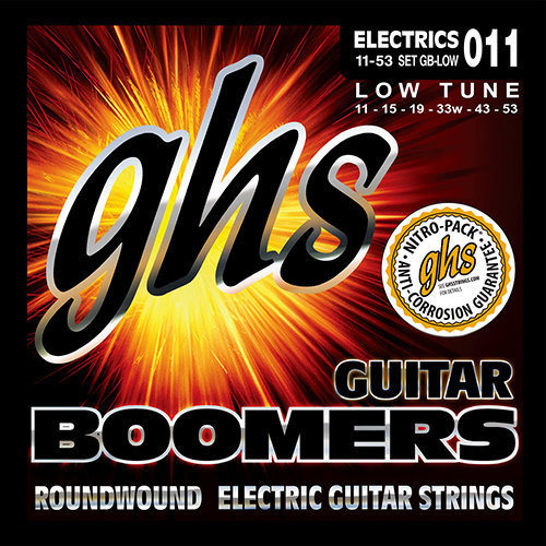 View larger image of GHS GBLOW Boomers Roundwound Nickel-Plated Steel Low-Tuned Electric Guitar Strings - 11-53