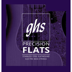 GHS M3050 Precision Flats Flatwound Stainless Steel Bass Guitar Strings - Medium 45-105, Long Scale Plus