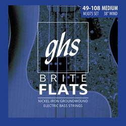 GHS M3075 Brite Flats Ground Roundwound Alloy 52 Bass Guitar Strings - Medium 49-108, Standard Long Scale