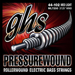 GHS ML7200 Pressurewound Flats Alloy 52 Bass Guitar Strings - Medium-Light 44-102, Long Scale Plus